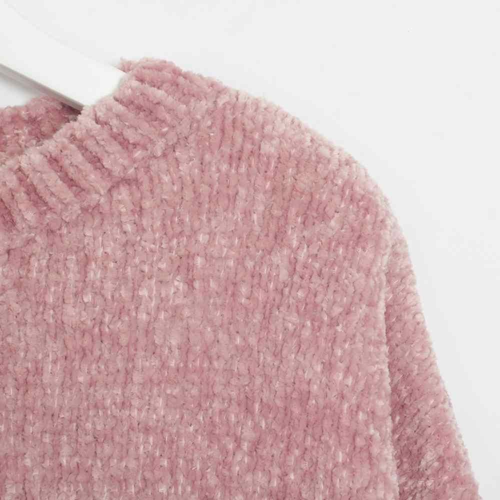 Suéter de Wixra para mujer 2019 sólido femenino cuello redondo chenilla cálido grueso tejido básico para Jersey de tirón diario Otoño Invierno