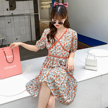Women Midi Floral Chiffon Dress Summer 2020 Runway Vintage Korean Casual Party Dress Bohemian Tropical Beach Vacation Dresses(China)