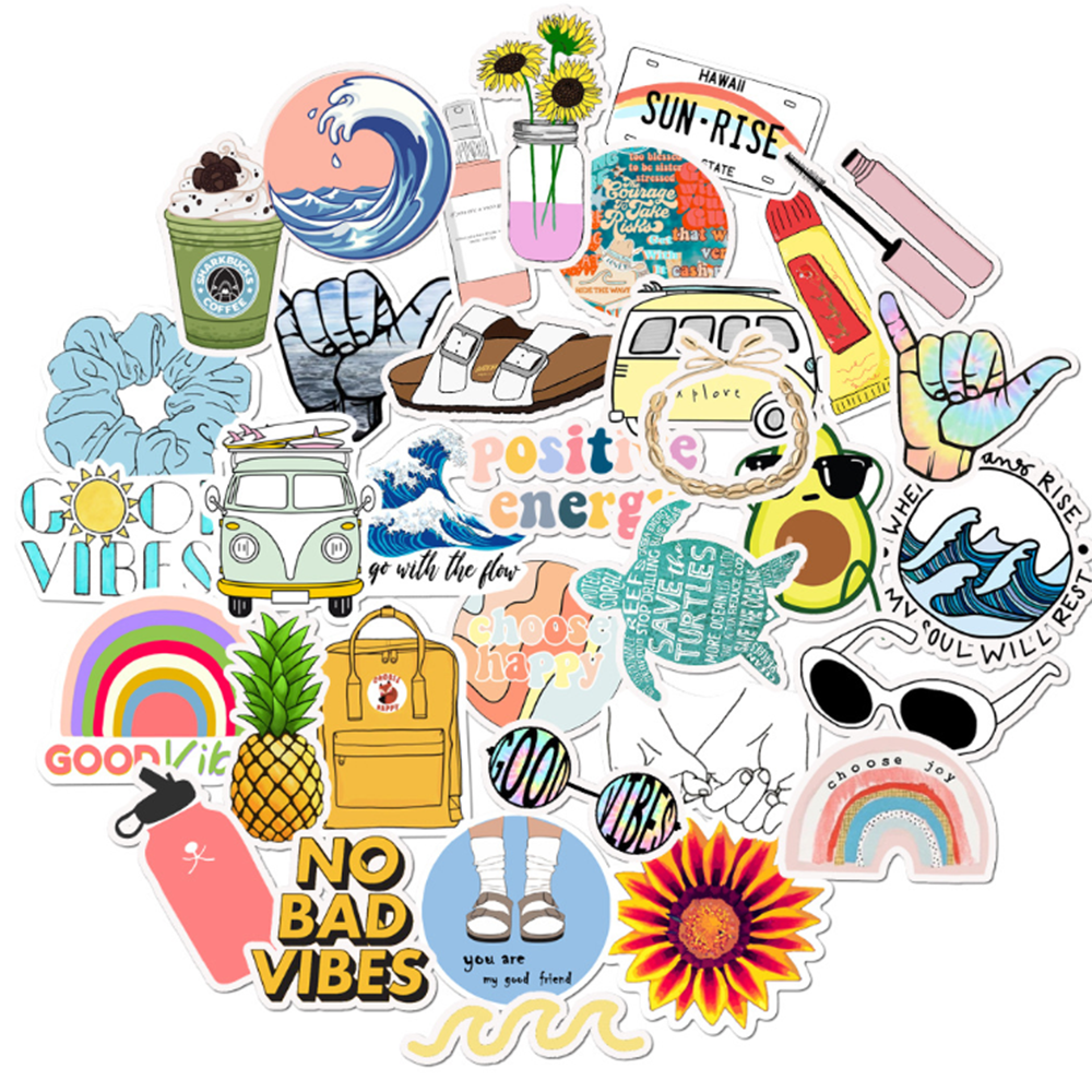 35PCS VSCO Girl Style Cartoon Stickers Car Motorcycle Travel Luggage Phone Guitar Laptop Waterproof PVC Cool Joke Stickers
