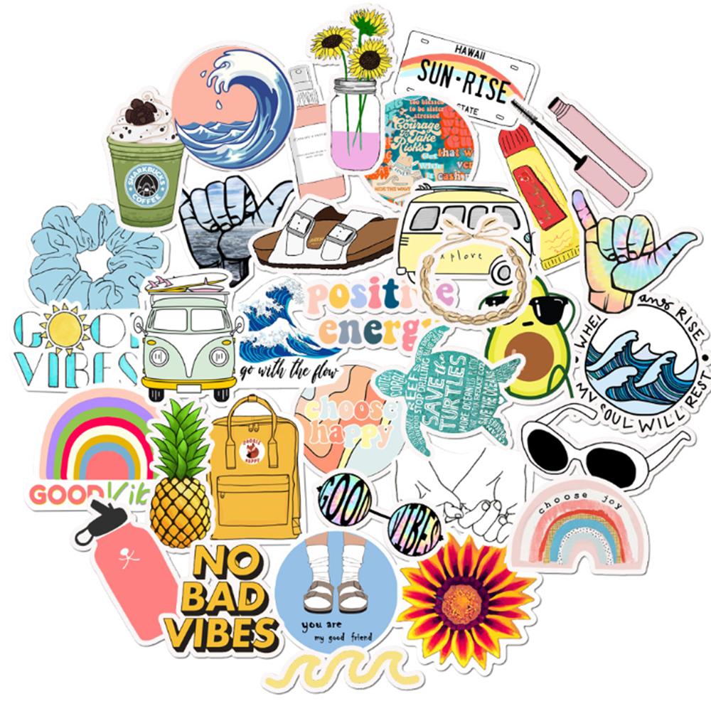 35PCS VSCO Girl Style Cartoon Stickers Car Motorcycle Travel Luggage Phone Guitar Laptop Waterproof PVC Cool Joke Stickers