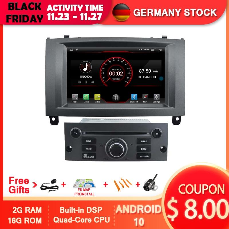 AVGOTOP Android 10 автомобильный Радио навигационный плеер для PEUGEOT 407 MP3 MP4 Wifi автомобильный GPS МУЛЬТИМЕДИА