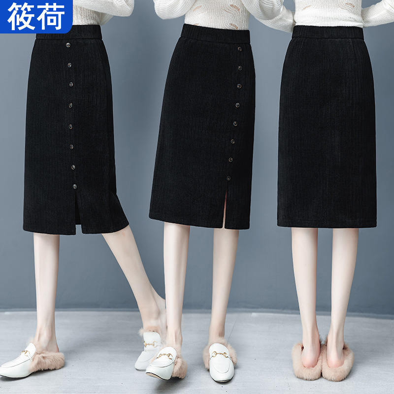 Corduroy Skirt Winter Women's 2019 New Style A- Line Skirt High-waisted Mid-length Thick Corduroy Winter Dress