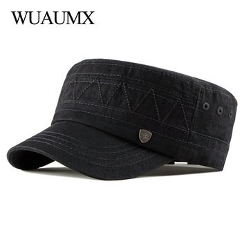 Wuaumx Simple Military Hats Men Women Cotton Spring Summer Flat Top Baseball Hats High Quality Army Cap Solid  Sunproof Visor wuaumx casual military hats spring summer flat top baseball caps men women outdoor army cap mesh breathable casquette militaire