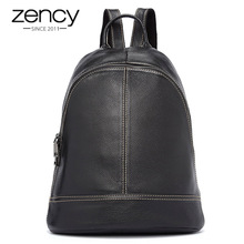 Zency 100% Genuine Leather Fashion Women Backpack Preppy Style Girls Schoolbag Black Holiday Knapsack Lady Casual Travel Bag