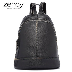 Image 1 - Zency 100% Genuine Leather Fashion Women Backpack Preppy Style Girls Schoolbag Black Holiday Knapsack Lady Casual Travel Bag