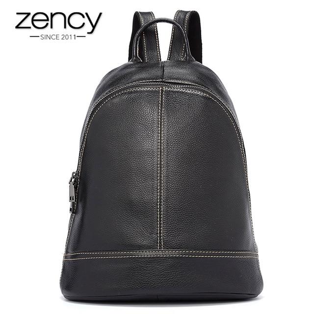 Zency 100% Genuine Leather Fashion Women Backpack Preppy Style Girls Schoolbag Black Holiday Knapsack Lady Casual Travel Bag