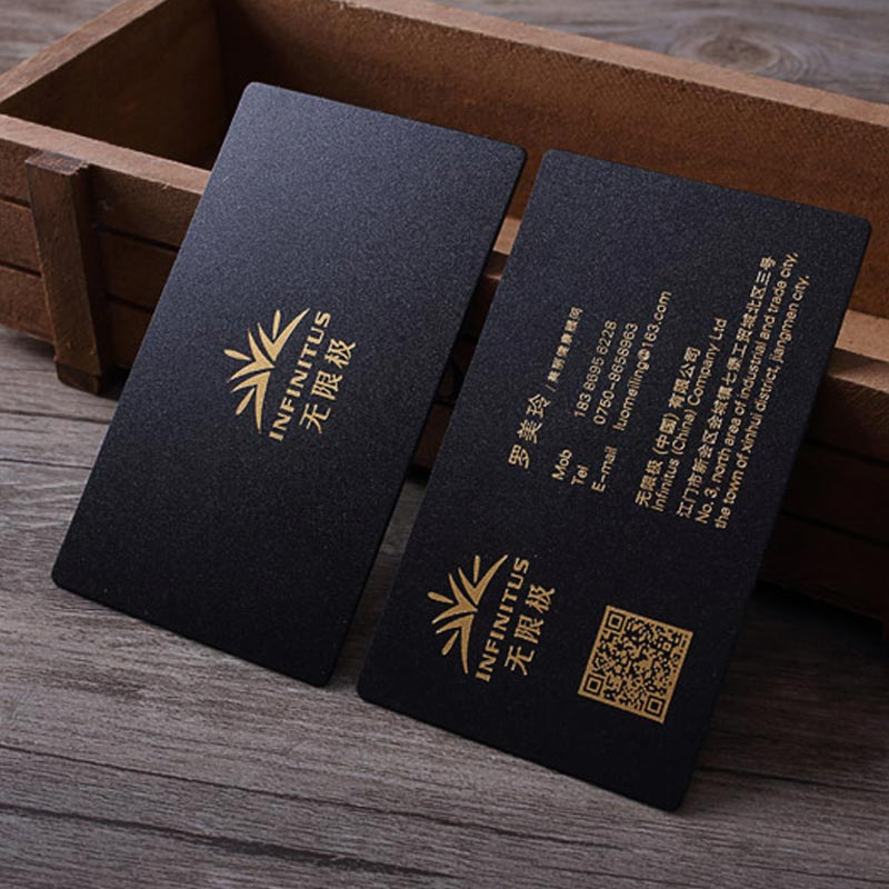 90x54mm 0.8mm Thickness Letterpress Frosted Black Plastic Card With Gold Foil Stamped On Both Sides