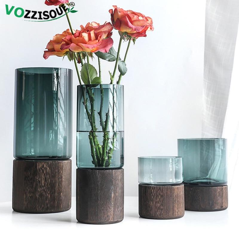 Glass Cylinder Vase With Wooden Base Geometric Terrarium Glass Flower Terrarium Nordic Style Desk Plant Hydroponics Accessories