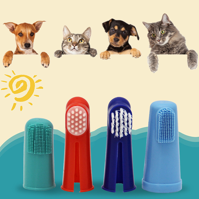 Super Soft  Multi- Colored Pet Finger Toothbrush For Cats & Dogs  2