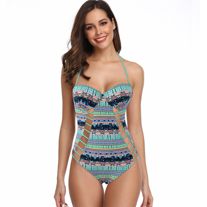2019 AliExpress Amazon Hot Selling Europe And America Camisole Chinlon Splash Rope Chest One-piece Beach Bathing Suit Manufactur