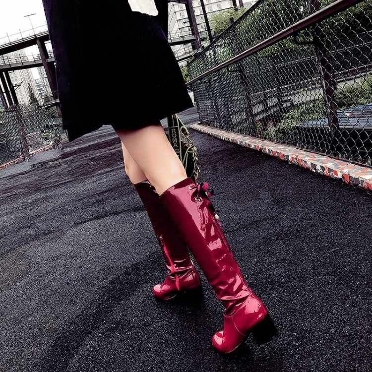 Große Größe 9 10 11-19 stiefel frauen frau winter stiefel frauen frauen schuhe botas Plain farbe runde kopf seite zipper band bogen