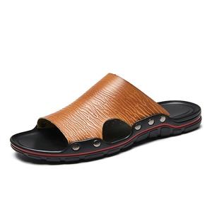 Image 4 - Außerhalb Flache Mikrofaser Männer Leder Hausschuhe Casual Sommer Schuhe Herren Rutschen Sliders Slide Pantoffel 2020 Dropshipping