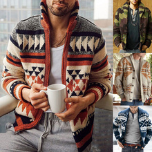 Newest Casual Winter Printed Men Cardigan Sweater Jacket Fashion Knitted Sweaters For Men Red Autumn Streetwear Zipper Coat Tops