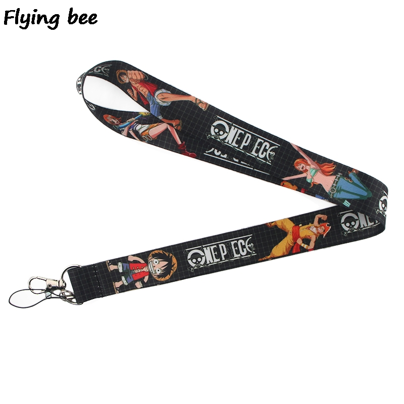 Flyingbee One Piece Anime Lanyard Keychain Keys Holder Women Strap Neck Lanyards For Keys ID Card Phone Lanyard X0367