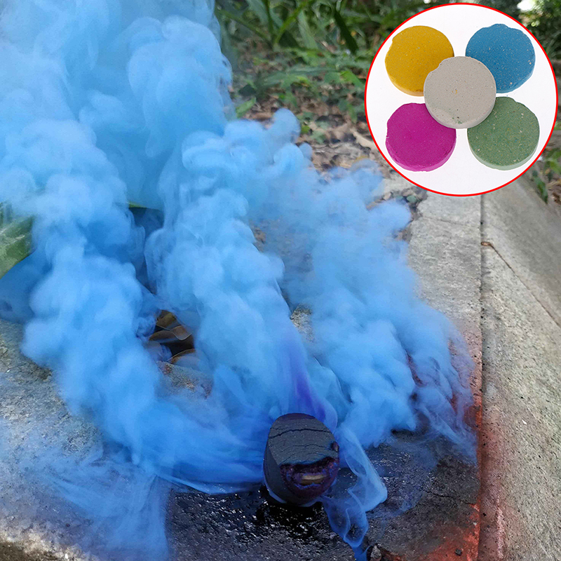5pcs Cake Effect Smoke Bomb Pills Portable Photography Prop Magic Tricks Stage Magic Colourful Smoke Pills Props Combustion Smog