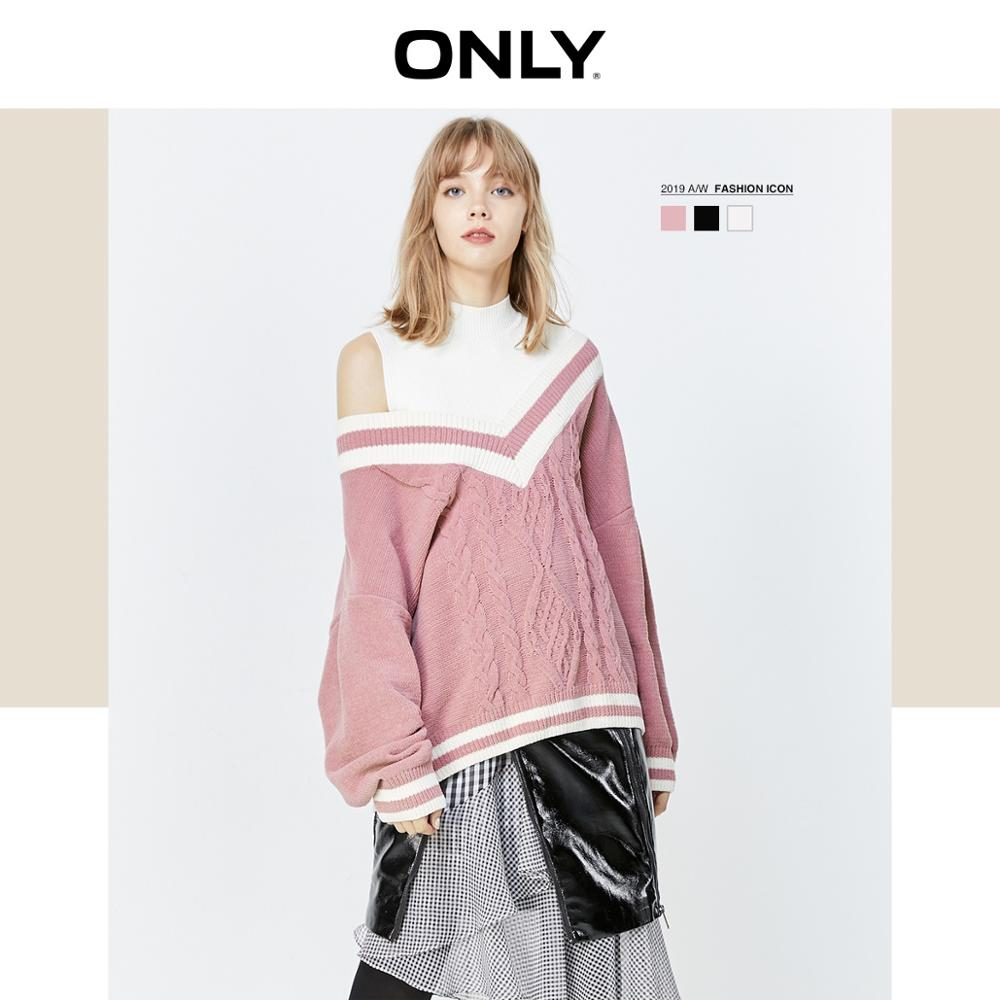 ONLY  Autumn Winter Women's Loose Fit Two-piece Knitted Sweater | 119313538
