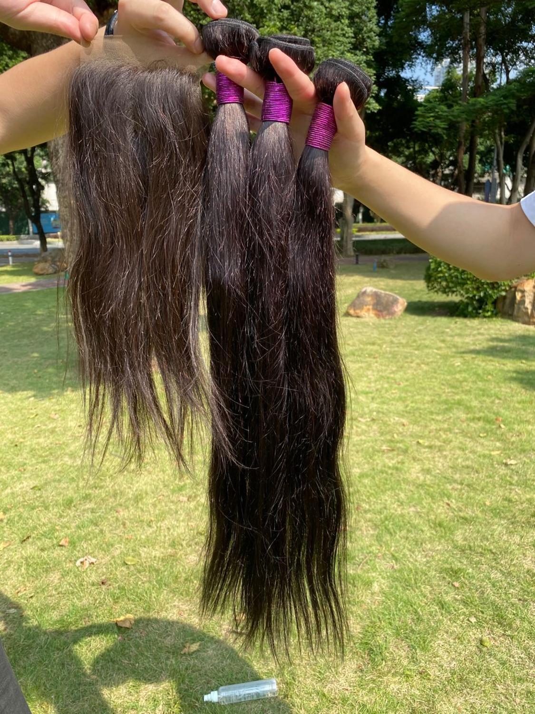 Paruks Human Virgin Hair Bundles With Closure 150% Density Swiss Lace Remy Hair Indian Straight Hair Bundles With Closure
