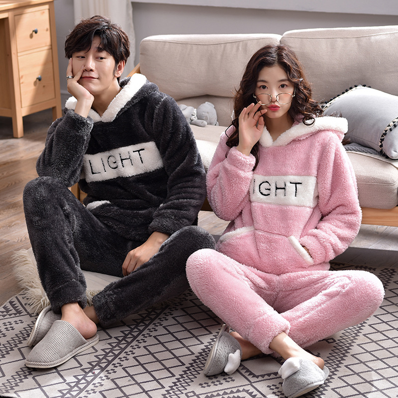 Coral Cashmere Couple Pajamas Winter Long Sleeve Men And Women Cute Cartoon Hoodie Thicken Plush Home Wear Suit Full Polyester