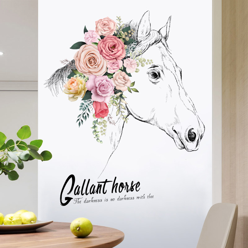 Creative horse head wall stickers living room TV background wall decor flowers sticker self-adhesive home decor room decoration