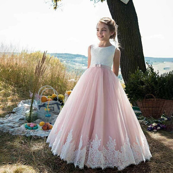 Pink Flower Girls Dresses For Lace Applique Sleeveless Children Evening Party Gown For Little Girls First Communion Dresses