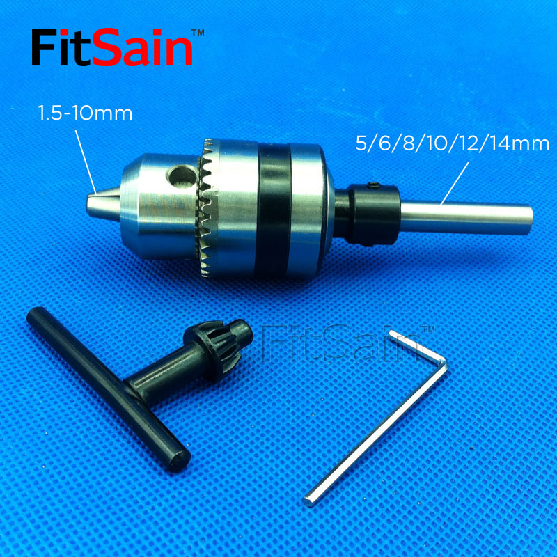 FitSain--B12 1.5-10mm Mini Drill Chuck Shaft Diameter 5mm,8mm,10mm,12mm,14mm Connect Rod Power Tools Accessories Drill Press