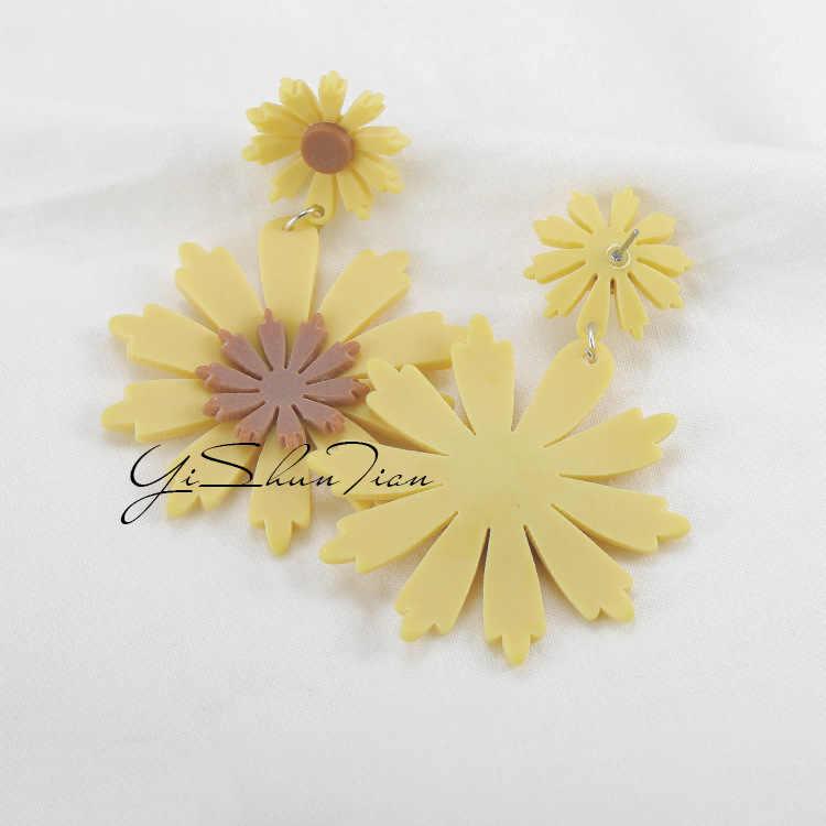 الصيف الطازجة البرية بالغت الأذن مجوهرات أقراط الكورية الشمس زهرة عباد الشمس الأصفر كبيرة الزهور أقراط للنساء