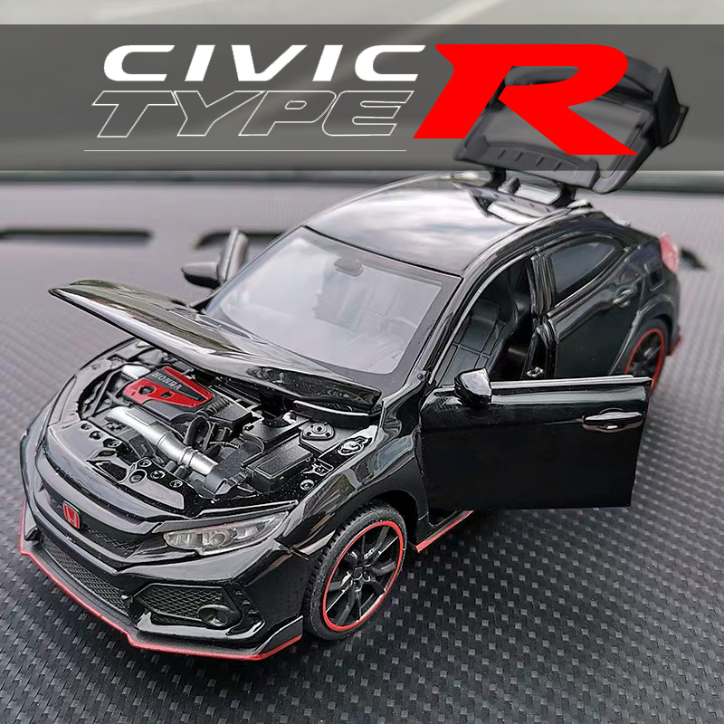 CIVIC TYPE-R Diecast Toy Car Model Metal Toy Vehicle High Simulation Sound And Light Pull Back Car Collection Kids Toys Gift