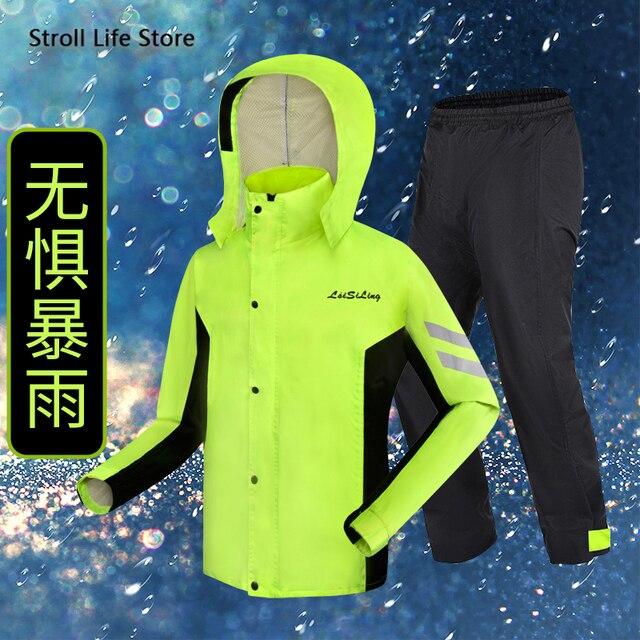 Adulte hommes manteau de pluie pantalon costume moto imperméable femmes équitation vert imperméable veste imperméables hommes sport costumes vêtements de pluie