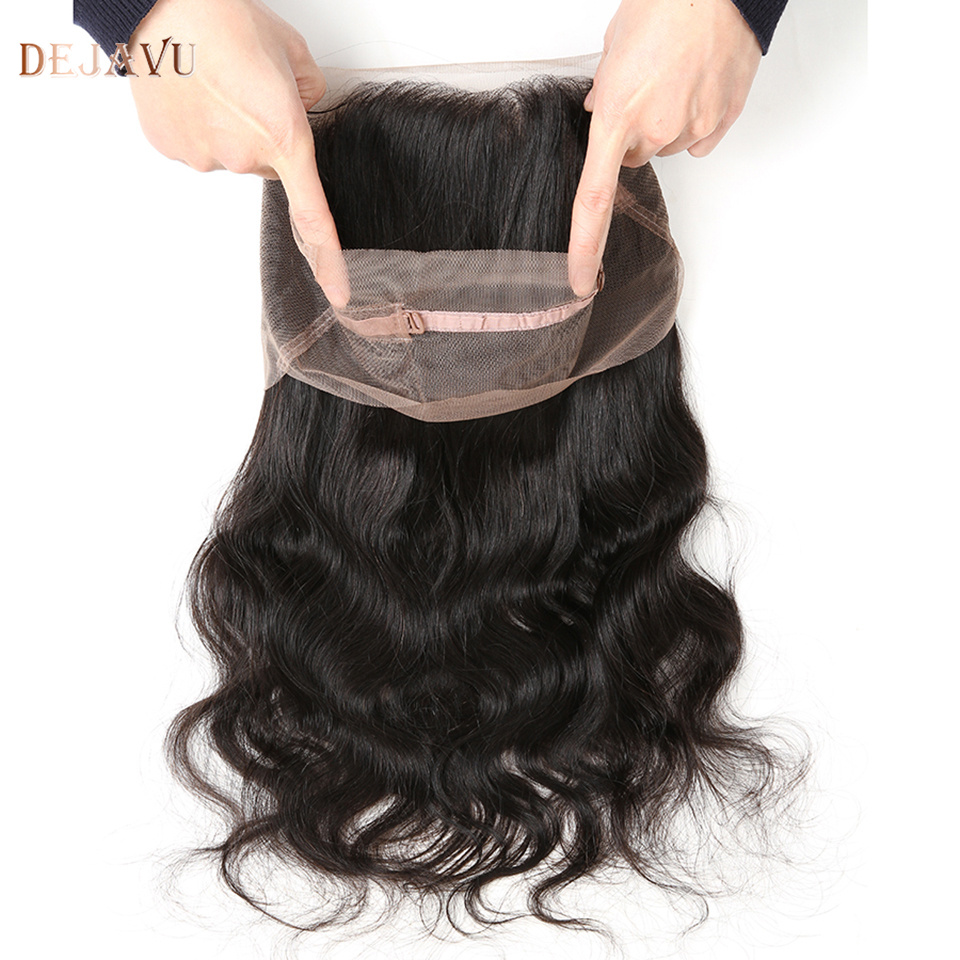 Dejavu 360 Lace Frontal Body Wave Closure With Baby Hair Free Part Non-Remy Human Hair Closure Natural Color 360 Frontal Closure