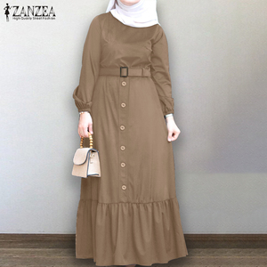 Plus Size Women's Autumn Sundress ZANZEA Elegant Muslim Shirt Dress Long Sleeve Maxi Vestidos Female Button Ruffle Vestidos 5XL