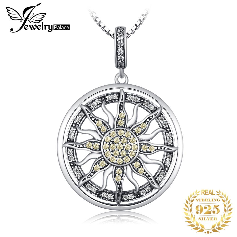 JewelryPalace Celestial <font><b>Sun</b></font> 925 Sterling Silver Cubic Zirconia Charm Statement Pendant Necklace Women <font><b>Jewelry</b></font> Without a Chain image