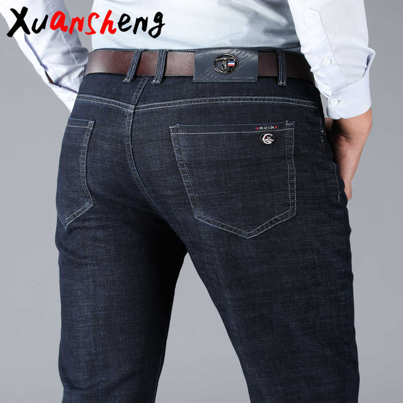 Xuansheng black men's jeans 2019 new classic fashion design straight stretch high waist loose denim large size streetwear jeans