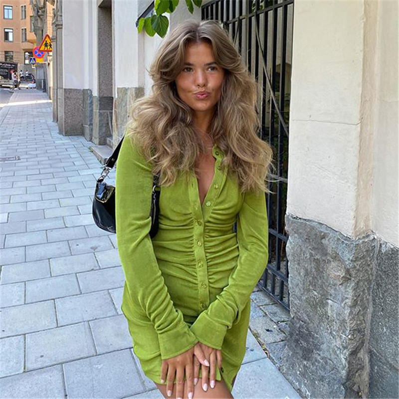 Green Shirt Dresses Women Ruched Long Sleeve Button Down Mini Bodycon Tight Dress Office Lady Skinny Spring Velvet Streetwear