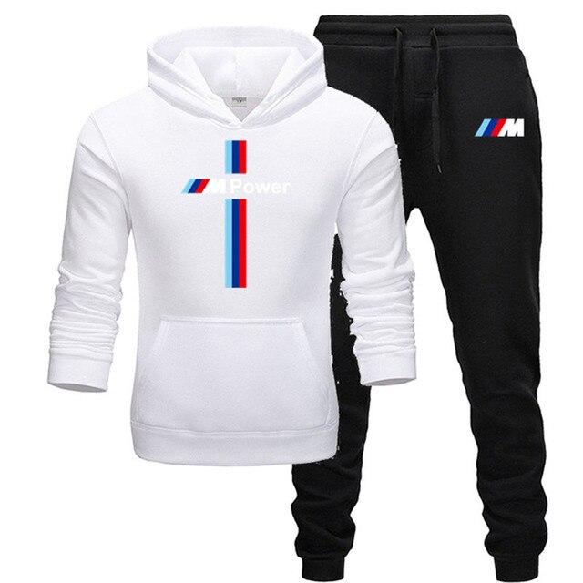 New BMW M Power Hoodie Set Sportswear Sweatshirt Set Fleece Hoodie + Sweatpants Jogging Men's Pullover 3XL Sports Set 6