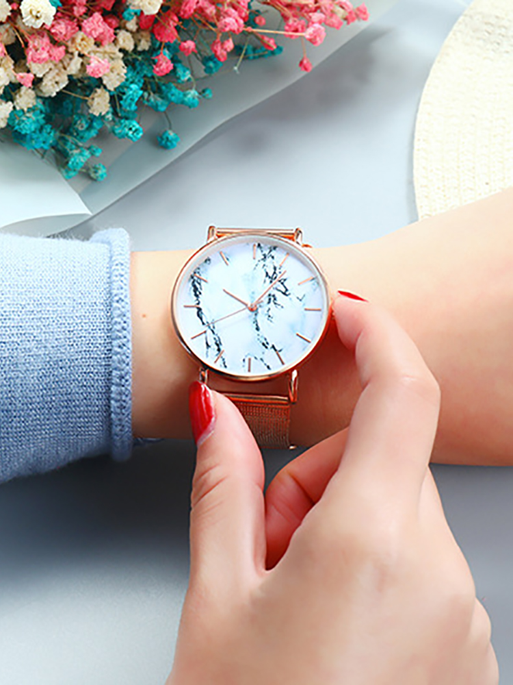 Wrist-Watch Mesh-Band Marble Gifts Quartz Rose-Gold Feminino Female Creative Fashion