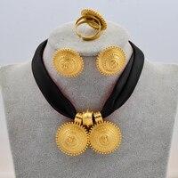 Anniyo DIY Цветная Веревка Цепь Эфиопский этнический стиль ювелирный набор золотой цвет Эритрея Habesha кулон серьги кольцо #217106