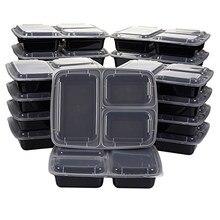50 adet kullanımlık yemek hazırlık Bento kutu konteyner ile 3 bölme kapaklı gıda saklama kabı yemek kabı mikrodalga