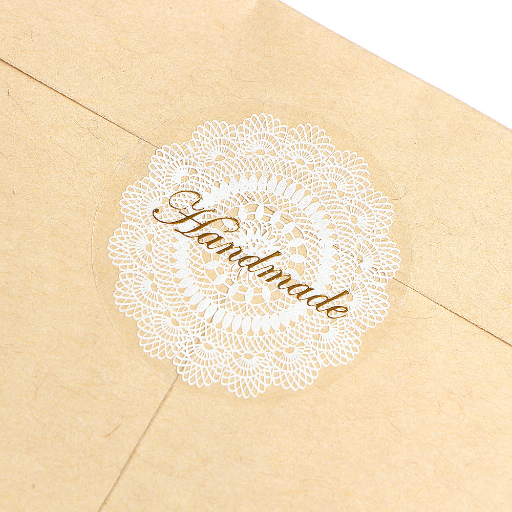 Купить с кэшбэком 80Pcs/lot High Quality Sticker label Transparent White Lace Seals Stickers PVC Hand Made Gift Sticke