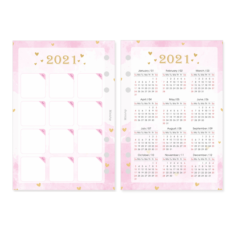Fromthenon 2021 Year Calendar Binder Spiral Notebook Index Divider A5A6 Planner Diary Monthly Plan Agenda Organizer Stationery