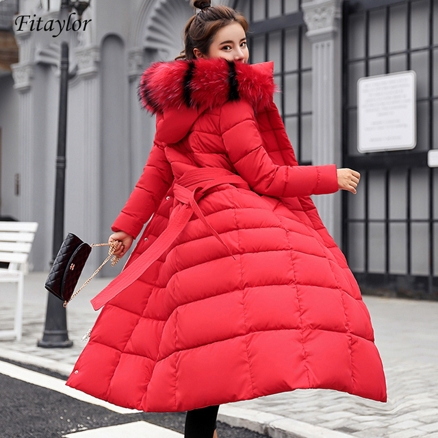 Fitaylor Winter Women Long Cotton Parkas Large Fur Collar Hooded Coat Casual Padded Warm Jackets Wadded Snow Overcoat