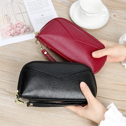 Wallet Women Red/blue/pink/black Zipper Bag Female PU Leather Long Purse Fashion Cellphone Bag 2020