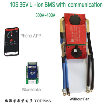 10S 36V Li-ion BMS 300A 400A with Bluetooth phone APP RS485 CANbus NTC UART for Li-ion Batteries 3.7V connected in 10 series image