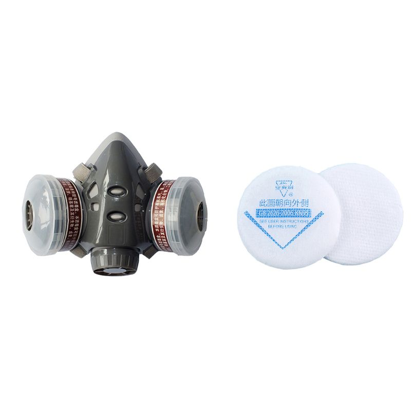 1Set 308 Half Face Respirator Dust Gas Mask For Painting Spray Pesticide Chemical Smoke Fire Protection