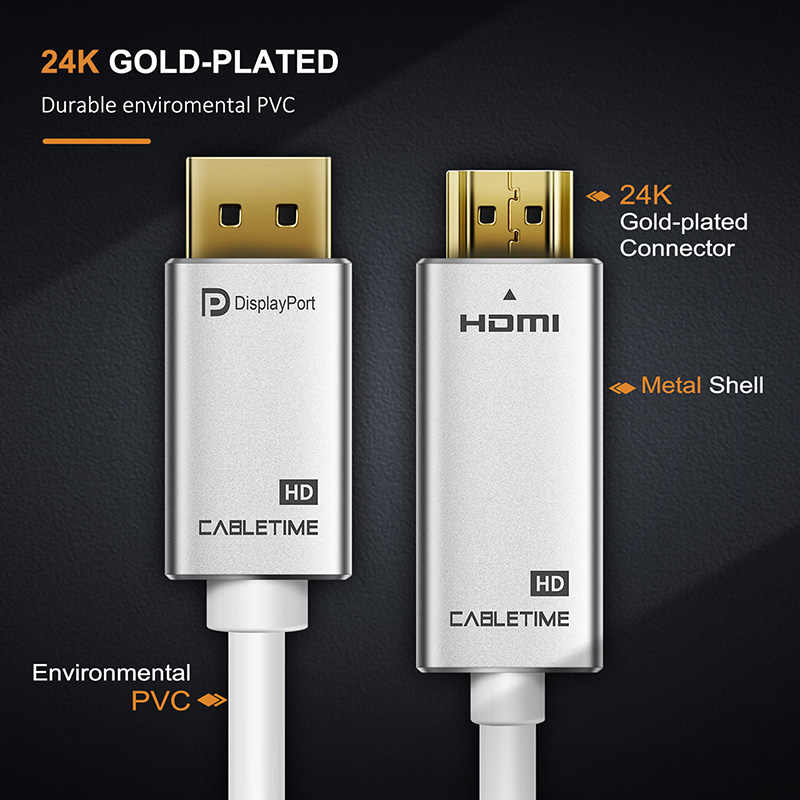 CABLETIME DisplayPort كابل وصلة بينية مُتعددة الوسائط وعالية الوضوح 1080P 60hz موانئ دبي إلى HDMI M/M 1m 1.8m 3m قبل displayPort 1.2 ل HDTV العارض محمول PC C084