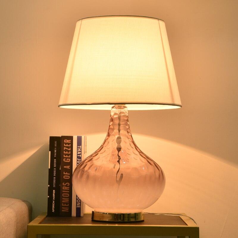 TUDA Free Shipping Pink Crystal Glass Table Lamp For Bedroom Living Room Flower Vase Shaped Bedroom Lamp Desk Lamp Home Decor