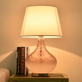 TUDA Free Shipping Pink Crystal Glass Table Lamp For Bedroom Living Room Flower Vase Shaped Bedroom Lamp Desk Lamp Home Decor free shipping pop design white murano glass lamp