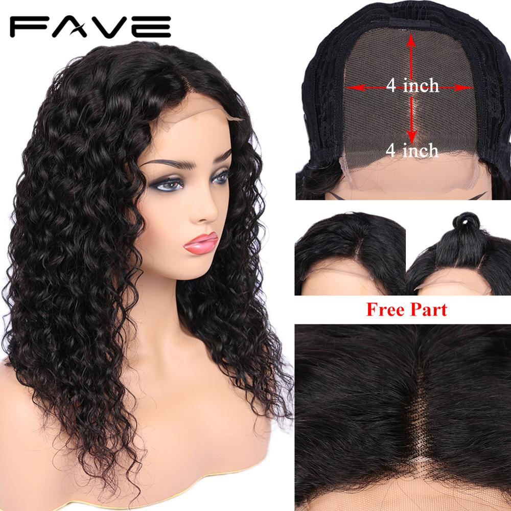 Parrucca anteriore in pizzo FAVE parrucca riccia brasiliana Remy 4X4 chiusura in pizzo parrucca ad onda d'acqua parrucche per capelli umani Glueless per donne nere nave veloce