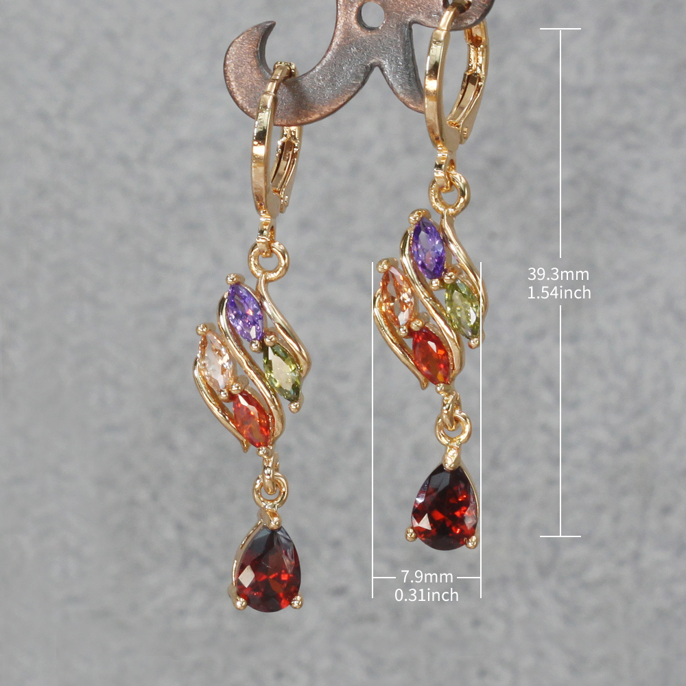 H755108430a6e436ab342dd5be08b7c9fd - Trendy Vintage Drop Earrings For Women Gold Filled  Red Green Pink Lavender Zircon Earrings Gold  Earring Wedding  Jewelry