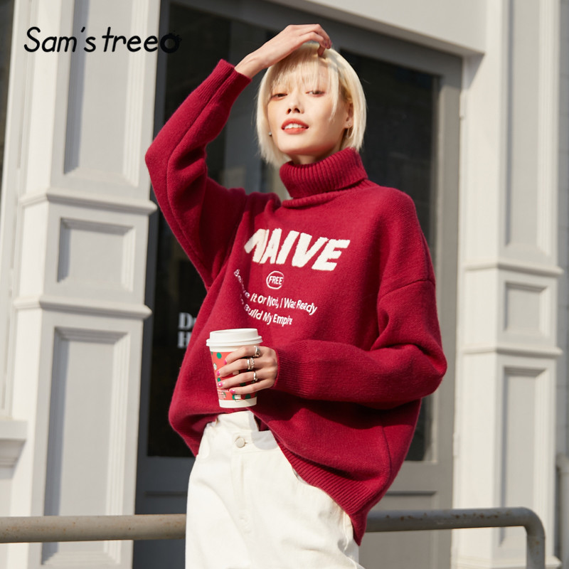 SAM'S TREE Multicolor Solid Letter Print Knit Pullover Sweater Women 2020 Winter New Long Sleeve Casual Female Basics Tops