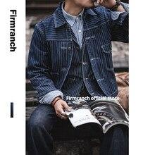 Firranch – veste de travail en jean pour homme, Vintage, Ceket, manteau de corvée, en Denim, à rayures, Bleu de Traavail, sac d'ingénierie, nouvelle collection 2021